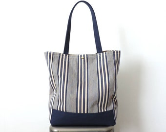 Stripe Tote Bag Recycled Blue Canvas Ticking Stripe SALE