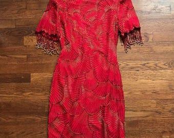 VINTAGE Laurence Kazar NWT Red Sequin Dress