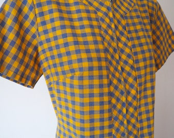 Blue & yellow plaid check mod dress M
