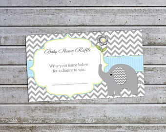 Elephant Baby Shower Boy Baby Shower Diaper Raffle Ticket Diaper Raffle Card Diapers Raffles Printable Digital Files (49d4)
