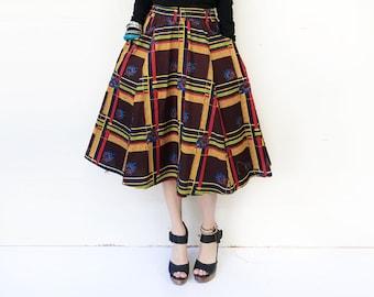 African Midi Skirt, Bohemian Skirt, African Print Skirt, Brown Skirt, Flared Skirt, Midi Skirt, African Clothing, Ankara Skirt / XS S M M+ L