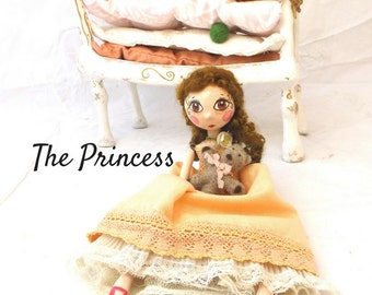 Princess and the Pea art doll, paper clay doll with bed, unique Birthday gift, hand made artist doll, shabby ooak romantic marionette doll.