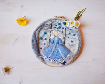 Wool painting Spring Princess on seesaw hoop wall art, Blue fairy felt nursery decor, Easter art to hang gift, embroidered boho fantasy