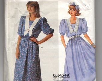 3087 McCalls Sewing Pattern Pullover Dress Size 10 Vintage 1980s