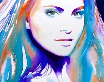 Jane Fashion Illustration Art print of Original Watercolour Portrait purple violet teal Blue Salon decor, Hair Salon Art Salon Ideas