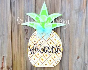SUMMER PINEAPPLE WELCOME Wooden Door Hanger, Door Sign, Door Decoration
