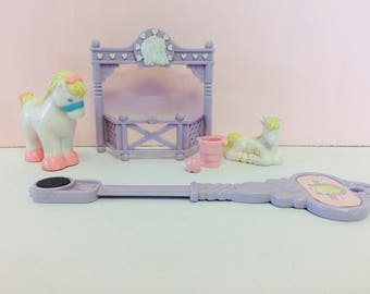 Vintage Precious Places Playset, Mother and Pony, Fisher Price Toys, Magnetic Key, Horse, Mother Horse and Pony, Vintage Toys, 1980s Toys