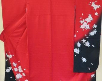 FURISODE SANSAI SAITO Silk Kimono Vintage Signed Red Japanese Silk Kimono Red Silk Pink Cherry Blossom Japanese Kimono Collectible Designer
