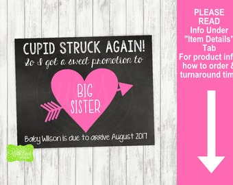 Valentine Pregnancy Announcement Sign - Printable Pregnancy Announcement Sign - Digital Chalkboard Sign - Big Sister Pregnancy Sign