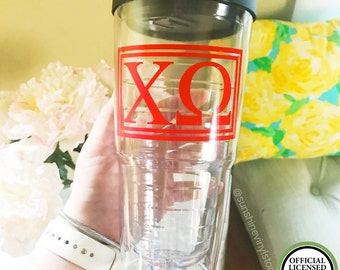 Chi Omega XΩ Tumbler 24oz Double Wall with Sip Lid