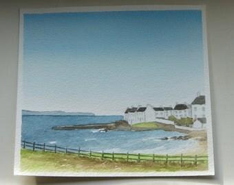 Port Charlotte, Islay, original watercolour painting, artwork, Hebrides, Scottish landscape, wall art, home decor, gift idea