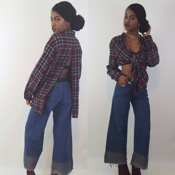 Remade Vintage Cutout Back Flannel Extra Large - 90's Maroon Red Grunge Plaid Shirt - Slouchy Baggy Oversized Backless Tartan Cut Out XL Top