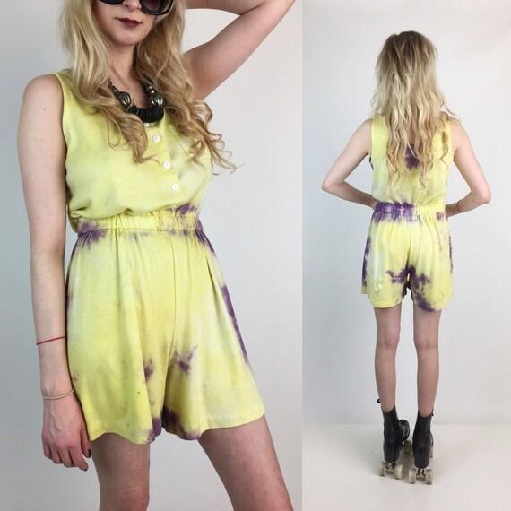 80's Tie Dye Cotton Playsuit Shorts Romper Medium - Vintage Tie Dye Yellow Purple Summer Romper Playsuit Jumper Cotton One Piece Shorts Suit