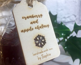 Engraved Wooden Snowflake Mason Jar Pantry Tags // Handmade by.. Personalised Christmas Foodie Gift Tag