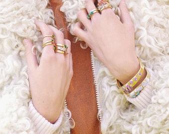 ruby ring / raw ruby / raw emerald ring / emerald jewelry / may birthstone / july birthstone / stacking ring / raw stone ring / boho