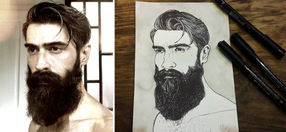 Commission An Original Hand-drawn Portrait in Pen & Ink (A5 size) from Photo