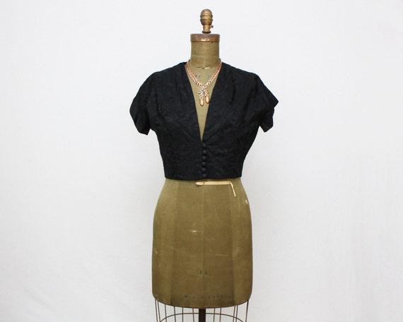 Vintage 1950s Black Embroidered Cropped Jacket