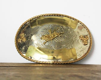 """Vintage Men's 1988 Western Bull Riding Oversized Oval XXL Two Tone German Silver Belt Buckle 4.25"""" x 6.25"""" - Ready to Engrave"""