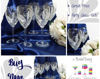 Cheap Party Favors Wine Lovers Personalized Set of 12 Wine or Champagne Glass Party Pack Discount Set For Party Bridal Daisy