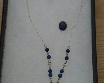 Boxed Scottish made sterling silver and gemstone necklace and earrings set
