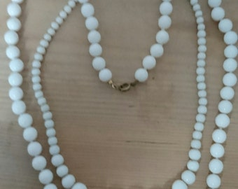 Two vintage milk glass bead necklaces