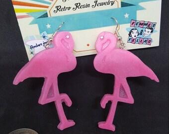 Retro Resin Flamingo Earrings