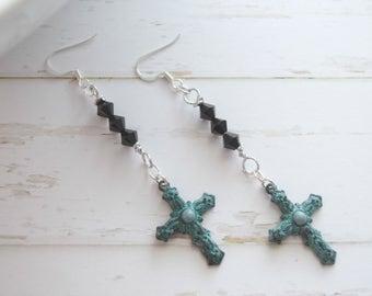 Long Cross Jewelry Earrings, Christian Jewelry, Jewelry Earrings, Earrings Jewelry, Turquoise Cross, Earrings With Cross,