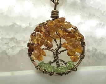 Golden Citrine Tree Of Life, Tree Necklace, Peridot Roots Pendant Brown Chain, Wire Wrapped Jewelry, November Birthstone, August Birthstone