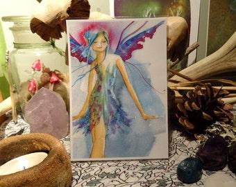 Fairy Art mini Print, Faerie Print, Fairy Art, Laminated Print, faerie Art, Blues & Pinks, Stylish Faerie, Birthday, Fairy Gift