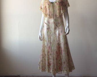 Vintage 1920's 1930's Sheer Mesh Capelet Dress, Floral Print, Small