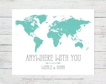 Push Pin Anywhere With You Map | Arrow Foam Travel | 16x20  | 18x24 | 24x36 | Personalized | Custom |  Anniversary Gift