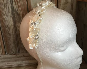 Ivory First Communion Hairband Flower Girl Hair Band Rhinestone Pearls Satin Girls Hairband