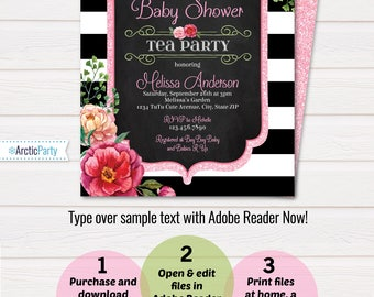 Tea Party Baby Shower Invitations - Baby Shower Tea Party Invitations - Baby Shower Invitations - EDIT at home NOW with Adobe Reader!
