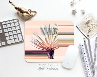 "Mousepad ""Agave Stripe"" by Iveta Abolina Cacti Mousepad Desert Cactus Mousepad Office Mousemat Rectangular Floral Print Mousepad Round 50."
