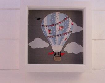 Hot air balloon applique picture, nursery art, nursery decor,