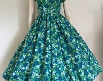 Stunning 50s Blue Green Floral Cotton Garden Party Dress / Medium / Full Skirt