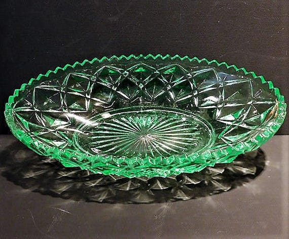 Green Vaseline Depression Glass Celery / Relish / Imperial / Diamond / Block