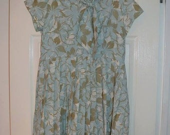 1960s Green Leaf Dress M