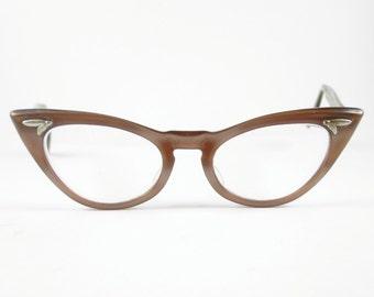 Cat Eye Glasses Frames Vintage Eyewear Mid Century Brown