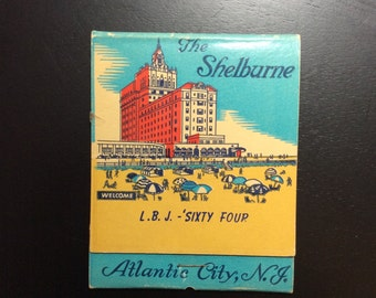 1964 Atlantic City L.B.J. Democratic National Convention Souvenir Collectible Oversized Matchbook The Shelburne Hotel