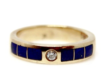 Sale! Diamond and Lapis Vintage Ring Yellow Gold 18k