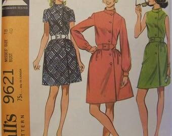 VINTAGE 1960s McCall's 9621 Button Front Dress Pattern sz 18 bust 40 UNCUT