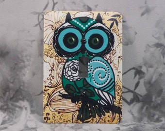 Metal Owl Light Switch Cover - Hoot Owl - 1T Single Switch Plate - Owl Switch Plate