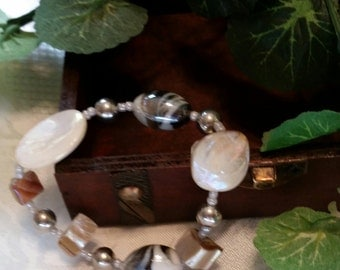 White and Tan bracelet chunky beaded jewelry
