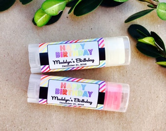Rainbow Chapstick Favor - Personalized Oval Lip Balm 24ct - Birthday Favors - Oval Lip Balm Tubes - Favor Chapstick - Birthday Favor OL2004