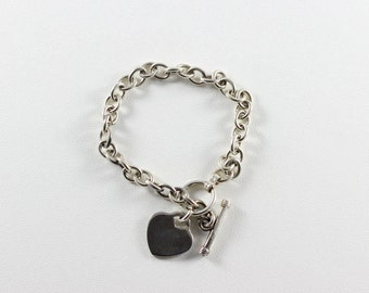 Sterling Silver Rolo Link Bracelet Heart Charm Toggle Clasp