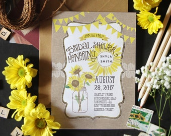 Sunflower Bridal Shower Invitations - Rustic Wedding Shower Invites - Yellow Jar Country Wedding Shower Invitations - Printable or Printed