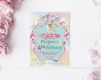 Puppy Dogs Girl Birthday Party Invitation - Watercolor Party Invites with French Bulldog - Printed or Printable Cards