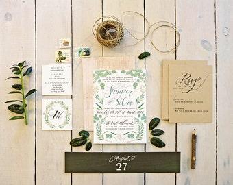 Green Leaves Wedding Invitation Kit - Botanical Rustic Wedding Invites - Printable Floral Wedding Set - Juniper