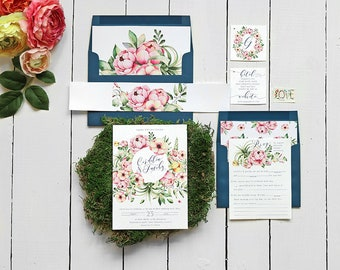 Modern Floral Wedding Invitation Set for a Garden Wedding, Navy Watercolor Wedding Invite Suite, Printable or Printed